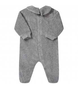 MOSCHINO KIDS Grey babykids babygrow with Teddy Bear and black logo