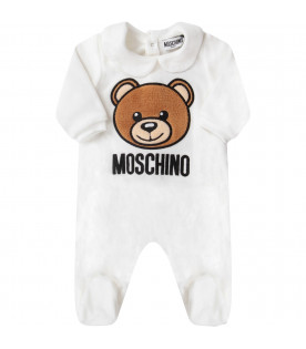 MOSCHINO KIDS White babykids babygrow with Teddy Bear and black logo