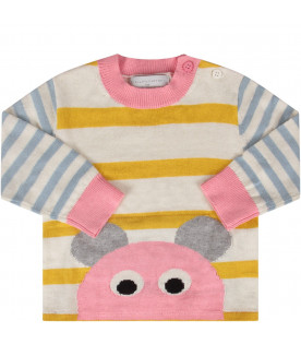 STELLA MCCARTNEY KIDS Striped babygirl sweater with mouse