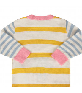 Striped babygirl sweater with mouse