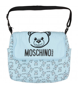 MOSCHINO KIDS Light blue babyboy changing bag with black Teddy Bear and logo