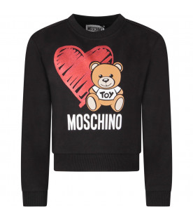 Black girl sweatshirt with Teddy Bear and red heart