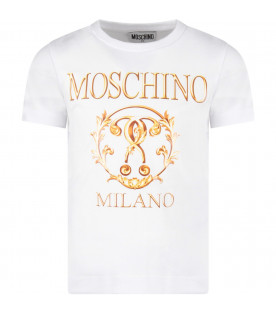 White girl T-shirt with gold ''Moschino Milano'' logo