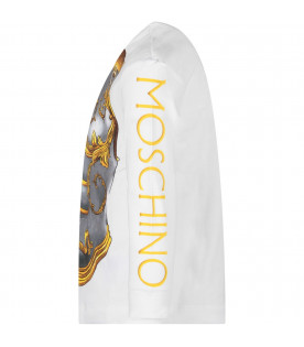 MOSCHINO KIDS White kids T-shirt with  colored print