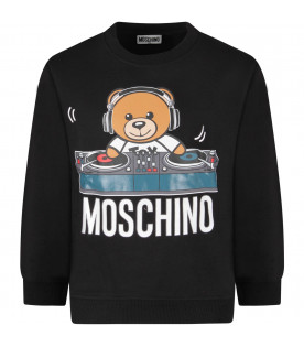 MOSCHINO KIDS Black kids sweatshirt with colorful Dj teddy Bear