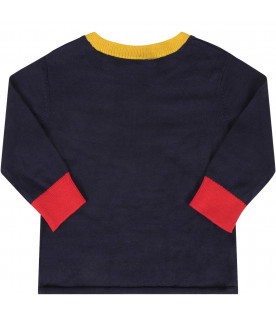 STELLA MCCARTNEY KIDS Blue babyboy sweter with colorful rocket