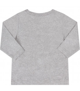 STELLA MCCARTNEY KIDS Grey babyboy T-shirt with colorful dragon