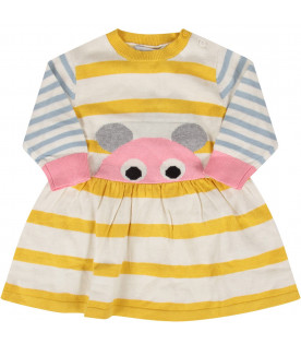Striped babygirl dress with mouse