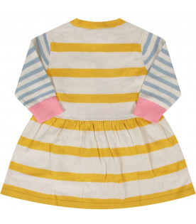 STELLA MCCARTNEY KIDS Abito a righe per neonata con topo
