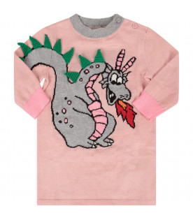 STELLA MCCARTNEY KIDS Pink babygirl dress with colorful dragon