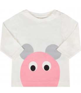 STELLA MCCARTNEY KIDS Ivory babygirl T-shirt with pink and grey mouse