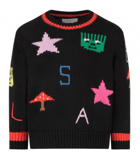 STELLA MCCARTNEY KIDS Black girl sweater with colorful logo and stars