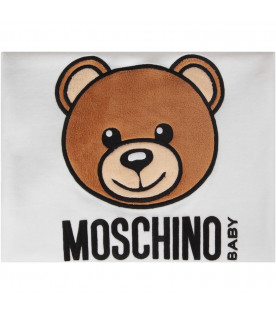 MOSCHINO KIDS White and grey babykids blanket with black and Dj Teddy Bear