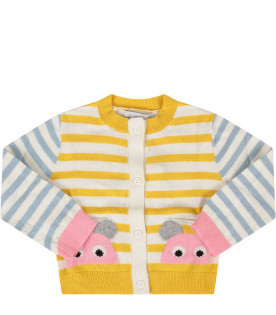Striped babygirl cardigan with mouses