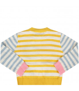 STELLA MCCARTNEY KIDS Striped babygirl cardigan with mouses