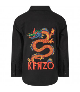 KENZO KIDS Black boy shirt with colorful japanese dragon