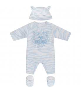 KENZO KIDS White suit with light blue tiger skin print