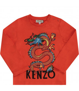 KENZO KIDS Orange babyboy T-shirt with japanese dragon