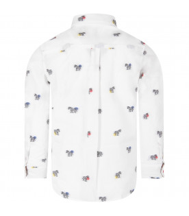 PAUL SMITH JUNIOR White boy shirt with black and white zebre