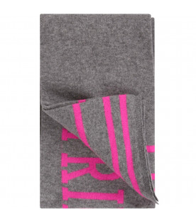 Grey girl scarf with fucshia details