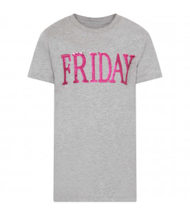 Grey girl T-shirt with purple writing
