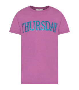 Purple girl T-shirt with light blue writing