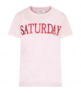 Pink girl T-shirt with red writing