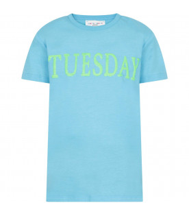Light blue girl T-shirt with noen green writing