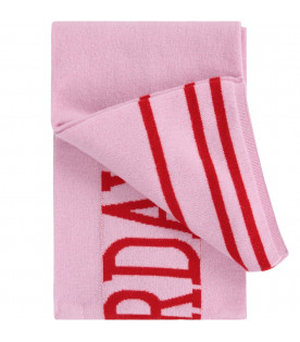 Pink girl scarf with red details