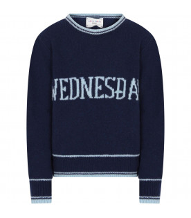 Blue girl sweater with light blue writing