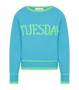 Light blue sweater for girl with neon green writing