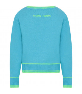 Light blue girl sweater with neon green writing