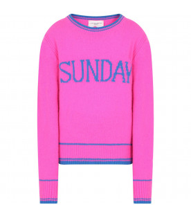 ALBERTA FERRETTI JUNIOR Fucshia girl sweater with blue writing