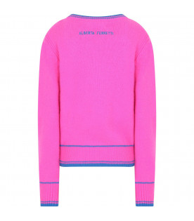 Fucshia girl sweater with blue writing