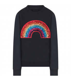 Blue girl sweatshirt with colorful rainbow