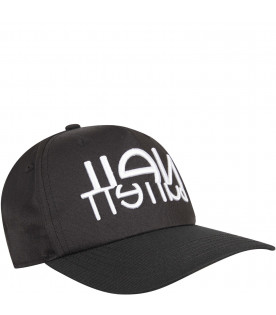 NEIL BARRETT KIDS Black kids hat with white logo