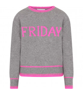ALBERTA FERRETTI JUNIOR Grey girl sweater with fucshia writing