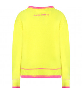 ALBERTA FERRETTI JUNIOR Neon yellow girl sweater with fucshia writing
