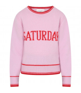 ALBERTA FERRETTI JUNIOR Pink girl sweater with red writing