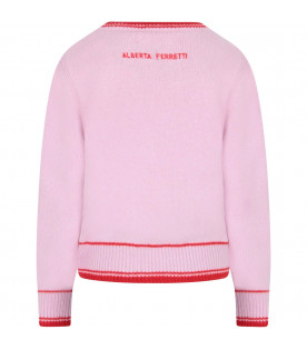 Pink sweater for girl with red writing
