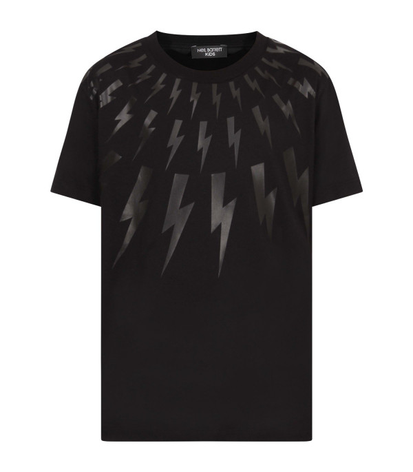 NEIL BARRETT KIDS Black boy t-shirt with balck thunders