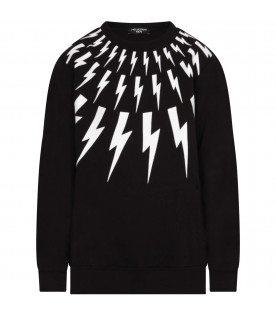 NEIL BARRETT KIDS Black baby boy sweatshirt with white thunders