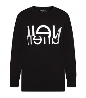 NEIL BARRETT KIDS Black kids sweatshirt with white logo