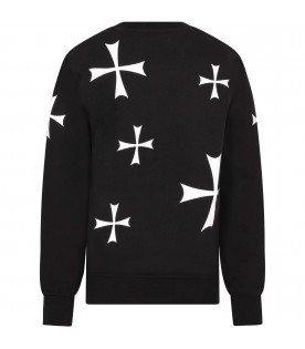 NEIL BARRETT KIDS Black boy sweatshirt with white cross