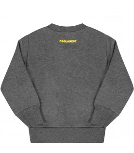 DSQUARED2 Grey babyboy sweatshirt with yellow ''Iccon'' writing