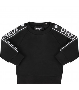 DSQUARED2 Black babykids sweatshirt with white logo
