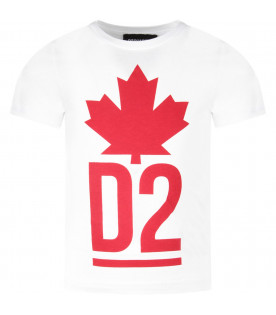 DSQUARED2 White boy T-shirt with red logo