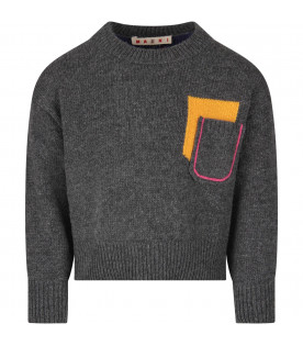 MARNI KIDS Grey and blue girl sweater with fucshia logo