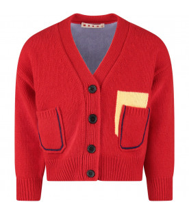 Red and light blue kids cardigan with blue logo