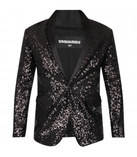 DSQUARED2 Black girl jacket with sequins